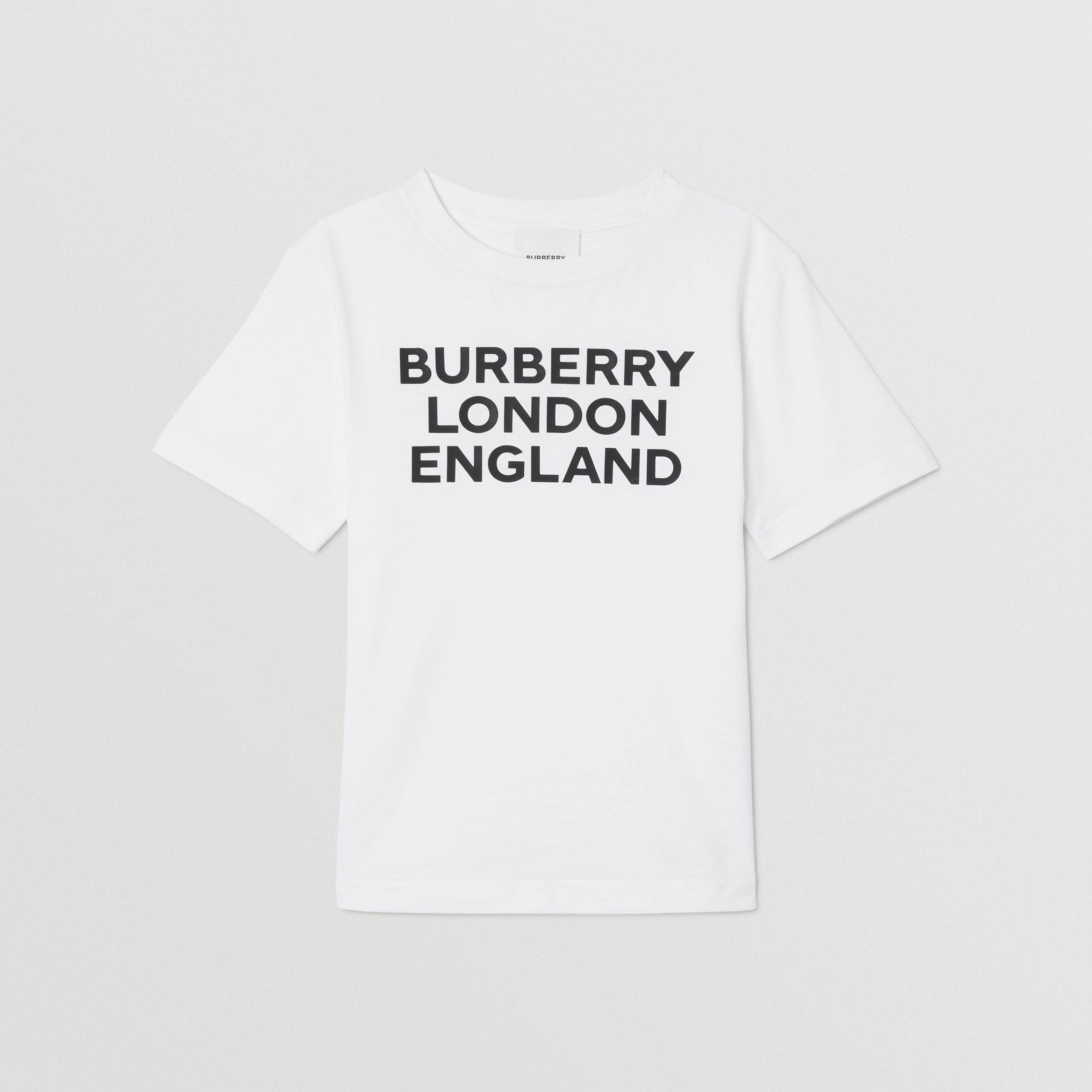 Logo Print Cotton T-shirt in White | Burberry - 1