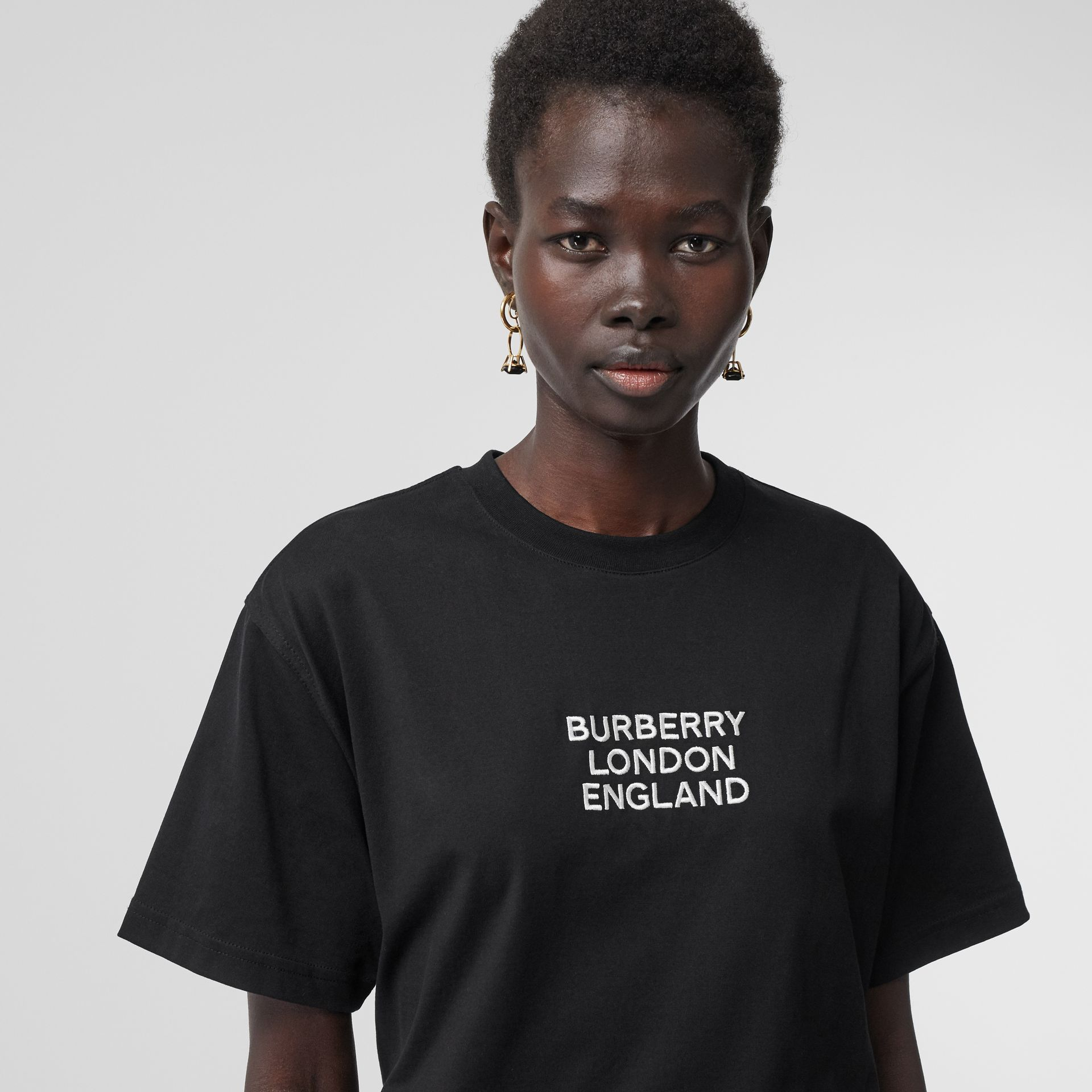 Embroidered Logo Cotton Oversized T-shirt in Black - Women | Burberry - gallery image 1