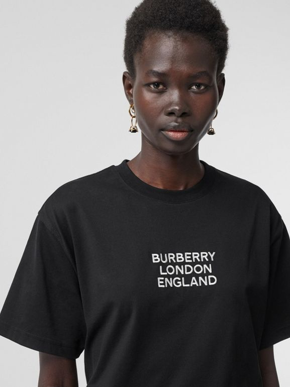Embroidered Logo Cotton Oversized T-shirt in Black - Women | Burberry - cell image 1