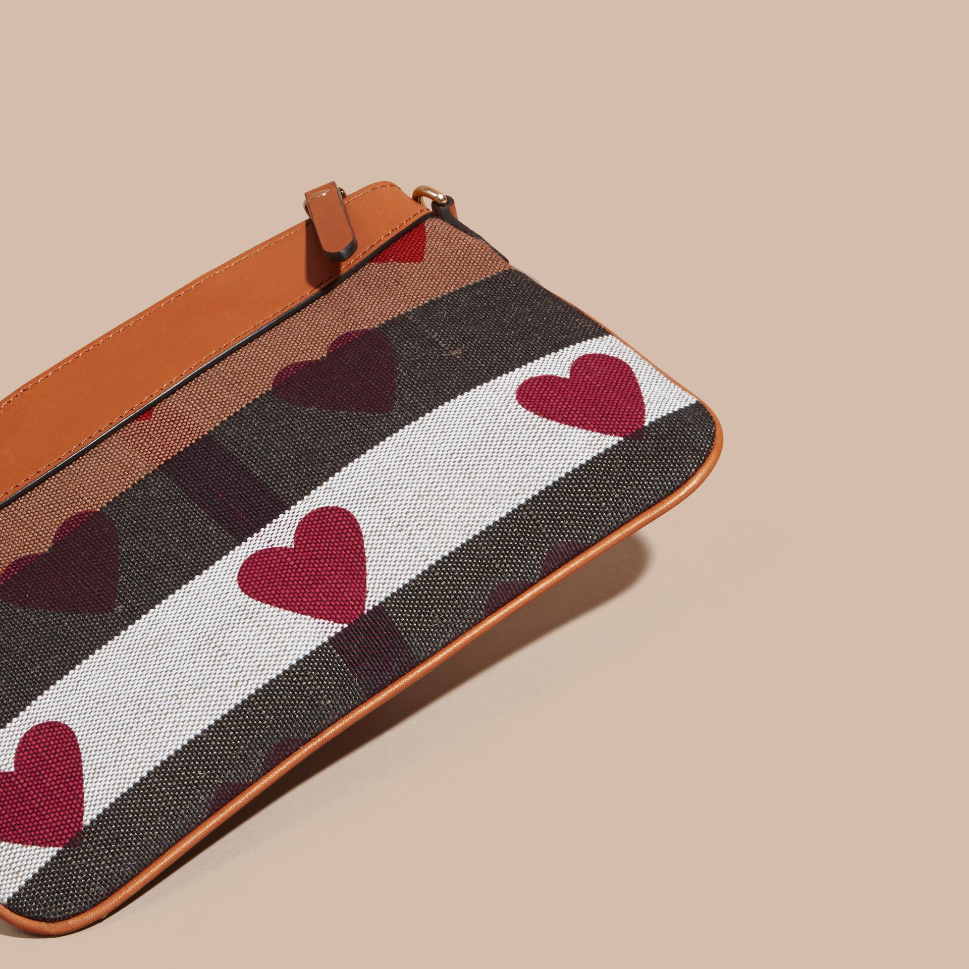 Parade red Heart Print Canvas Check Clutch Bag Parade Red - gallery image 5