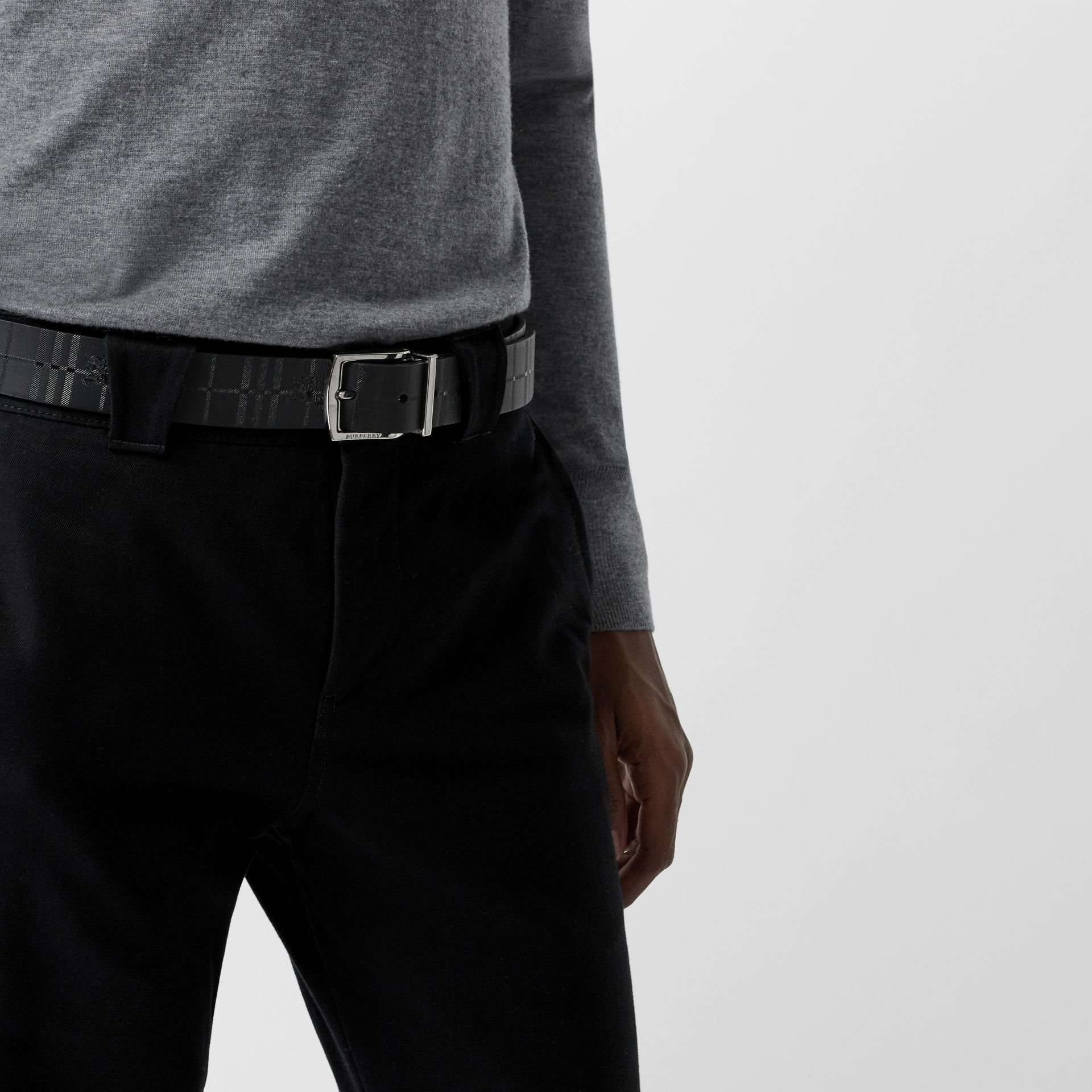 Reversible EKD Check Leather Belt in Black - Men | Burberry - gallery image 2