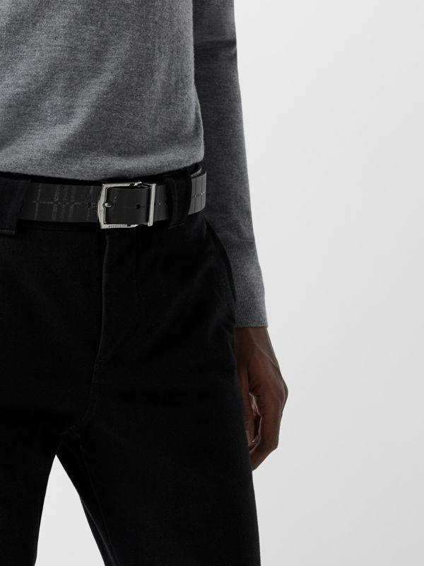 Reversible EKD Check Leather Belt in Black - Men | Burberry - cell image 2