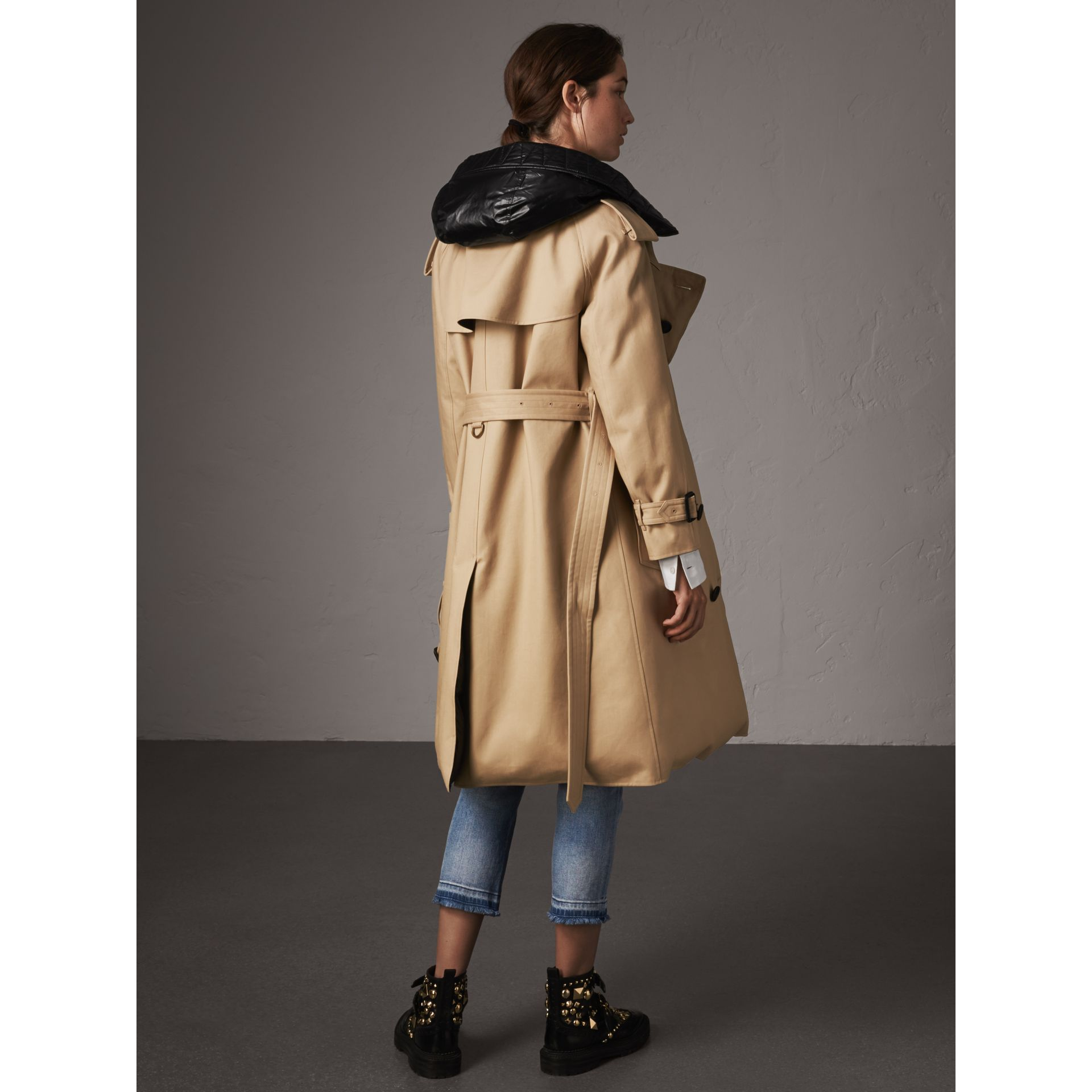 Reversible Down-filled Cotton Gabardine Trench Coat in Honey - Women | Burberry - gallery image 3