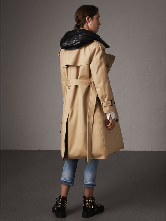 Reversible Down-filled Cotton Gabardine Trench Coat in Honey - Women | Burberry - cell image 2