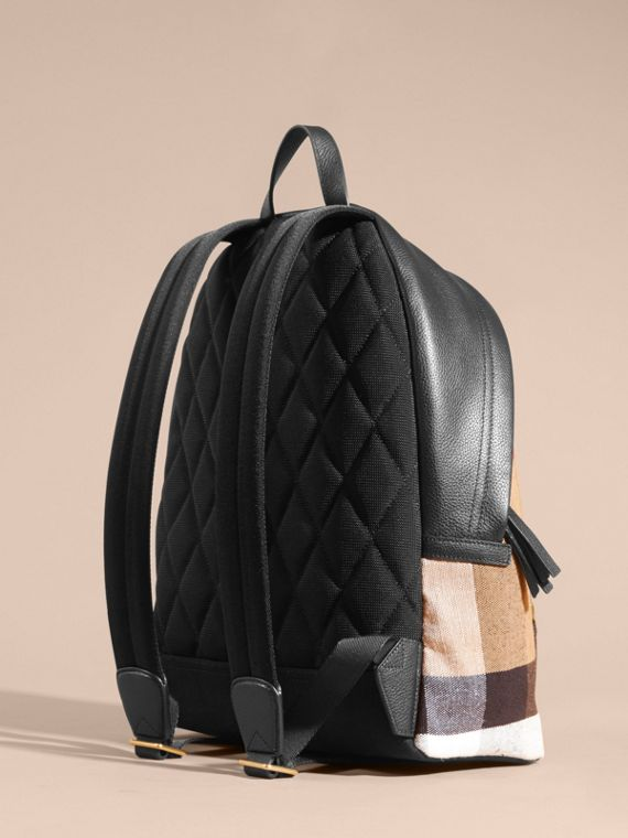 Black Canvas Check and Leather Backpack - cell image 3