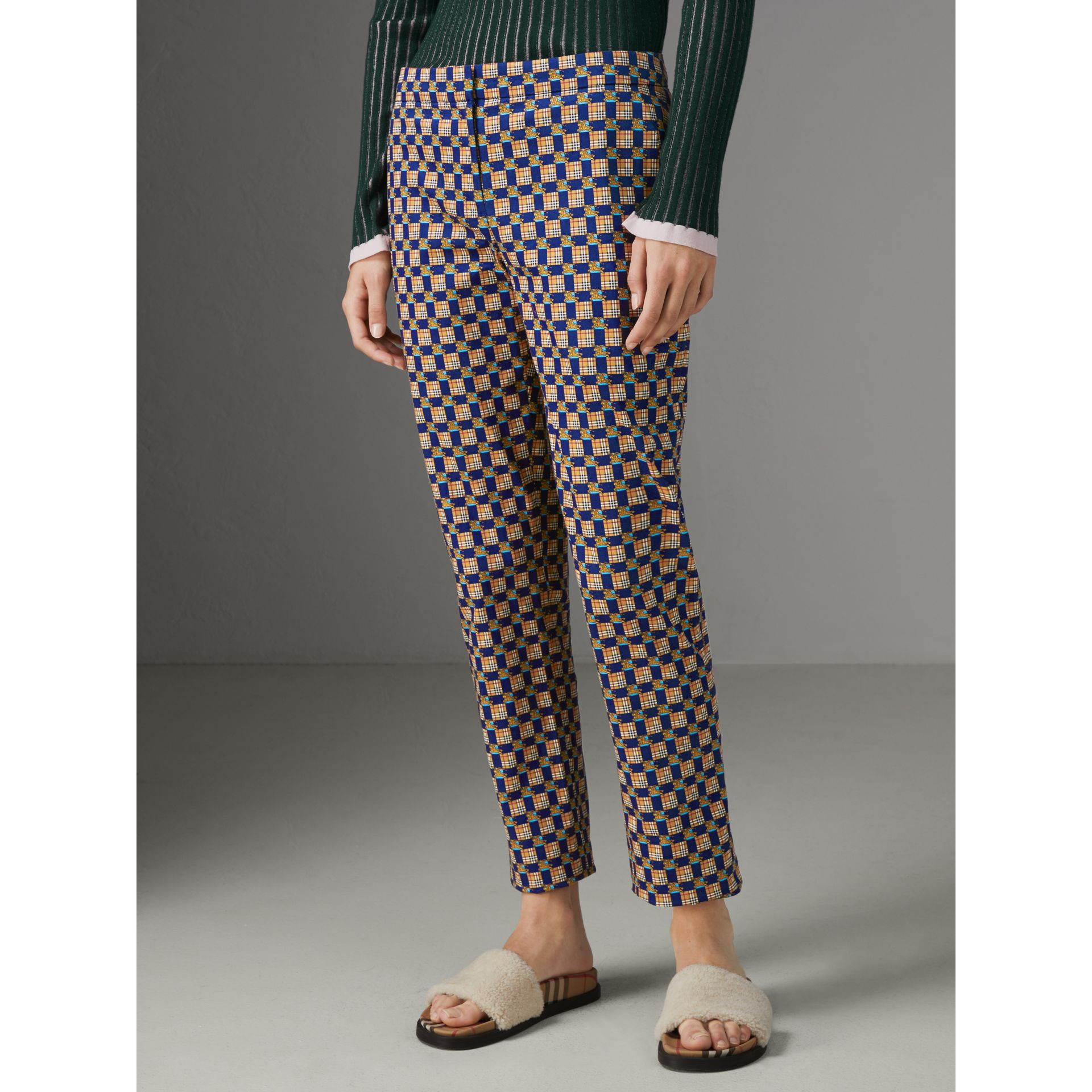 Tiled Archive Print Stretch Cotton Cigarette Trousers in Navy - Women | Burberry - gallery image 4