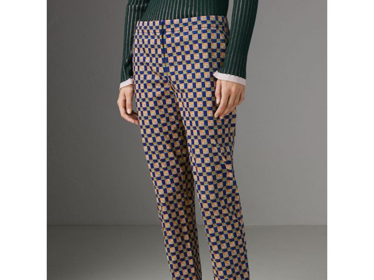 Tiled Archive Print Stretch Cotton Cigarette Trousers in Navy - Women | Burberry Australia - cell image 4