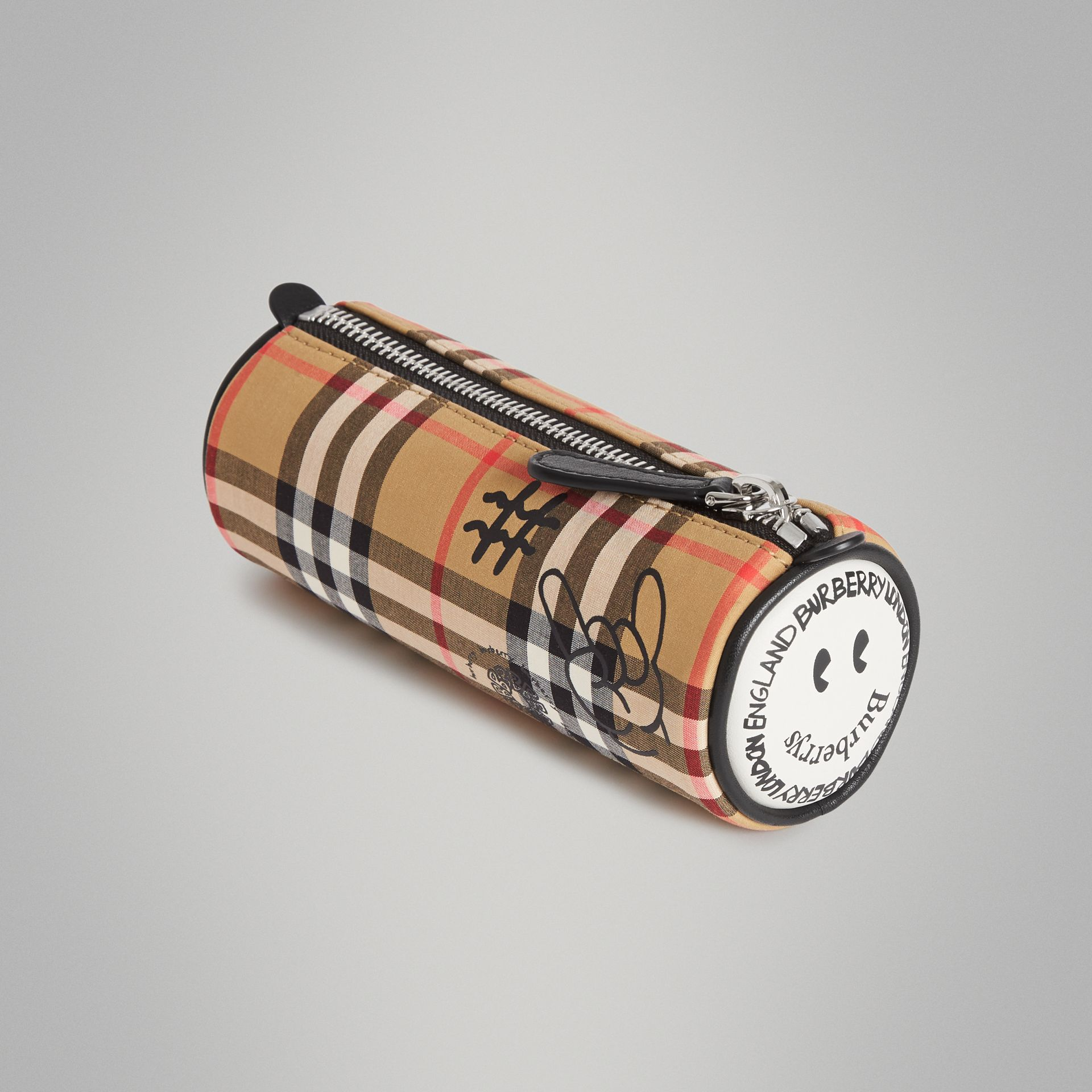 Street Art Print Vintage Check Pencil Case in Antique Yellow | Burberry - gallery image 2