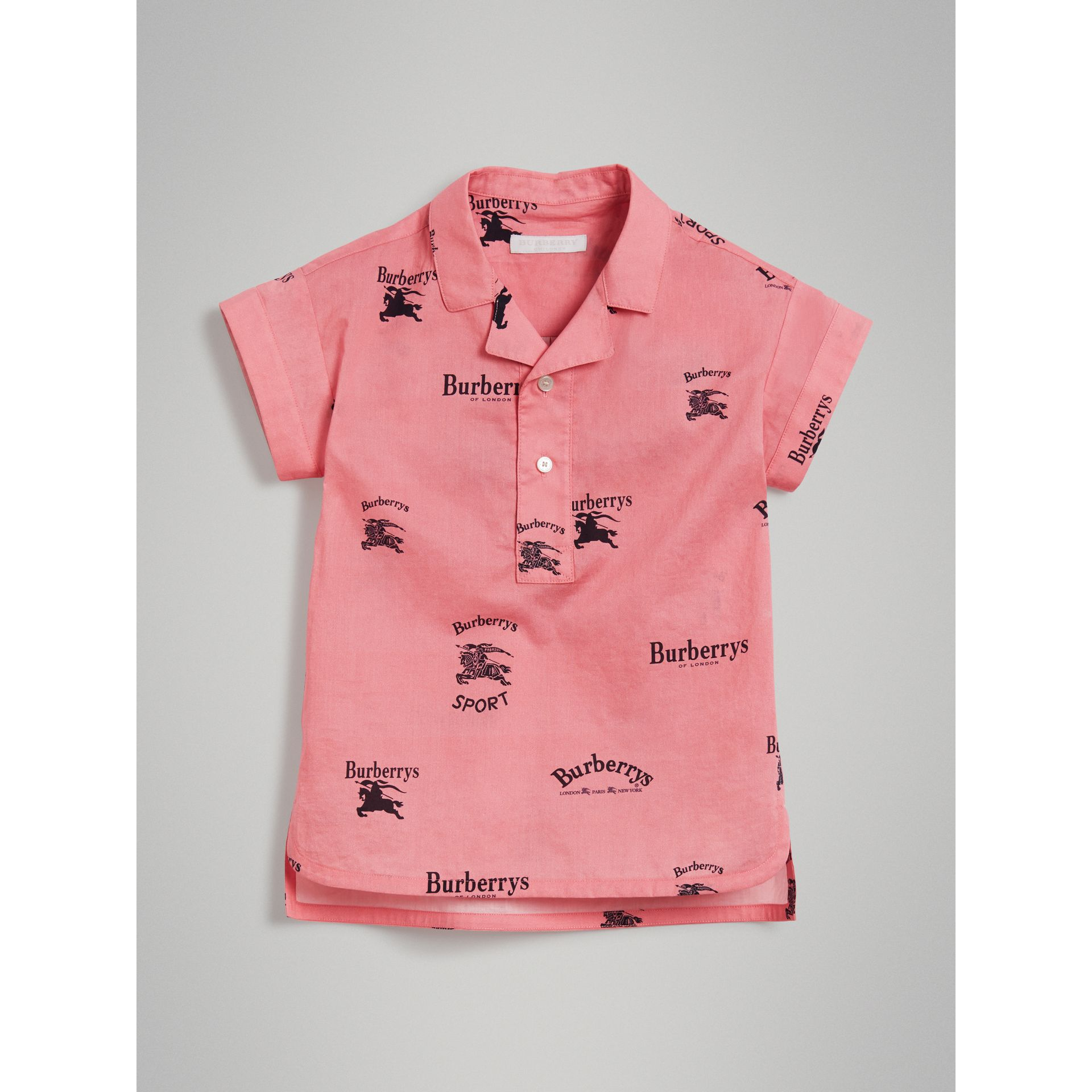 Short-sleeve Archive Logo Print Cotton Shirt in Rose Pink | Burberry - gallery image 0
