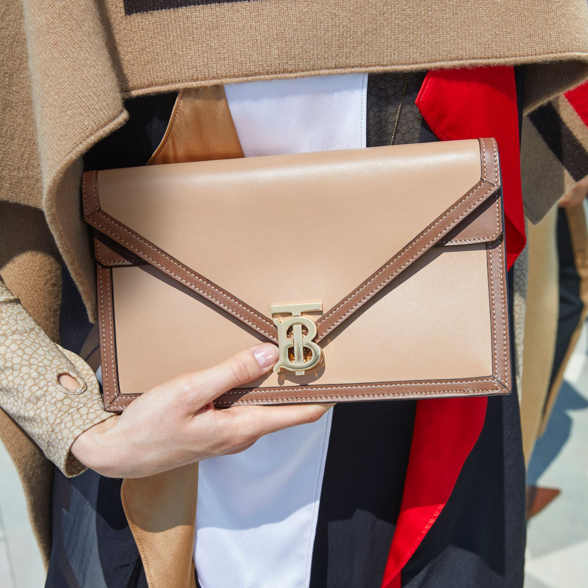 Small Two-tone Leather TB Envelope Clutch in Malt Brown - Women | Burberry - gallery image 1