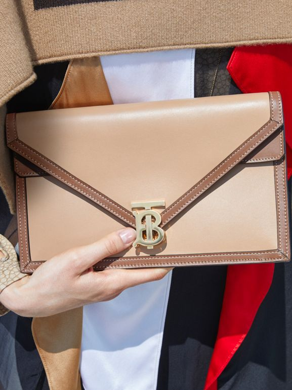 Small Two-tone Leather TB Envelope Clutch in Malt Brown - Women | Burberry - cell image 1