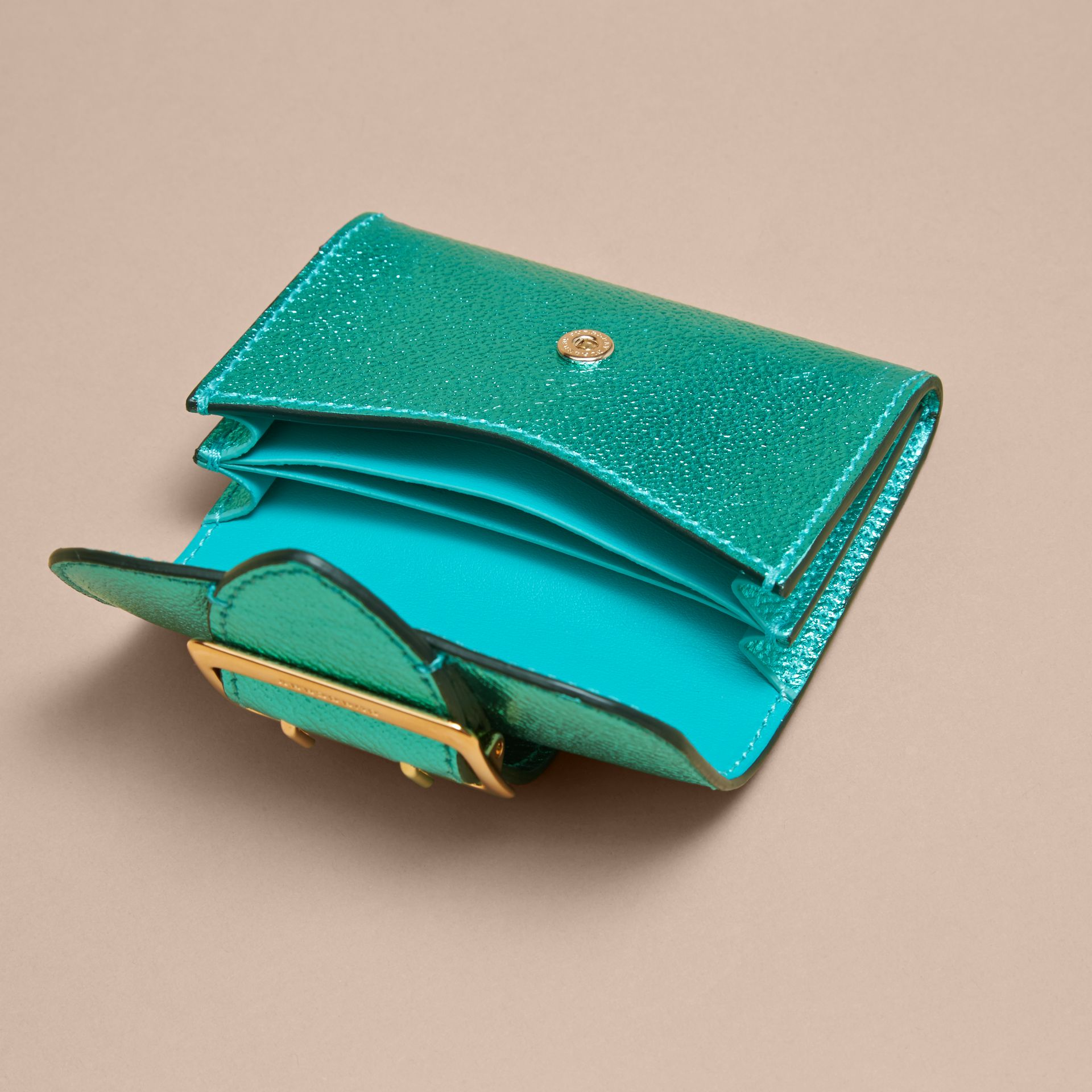 Metallic Leather Card Case in Emerald - gallery image 5