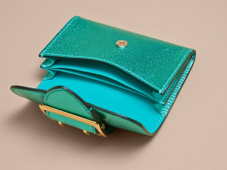 Metallic Leather Card Case in Emerald - cell image 4