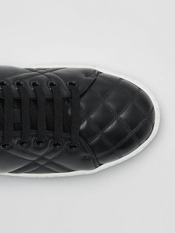 Check-quilted Leather Sneakers in Black - Women | Burberry Canada - cell image 1