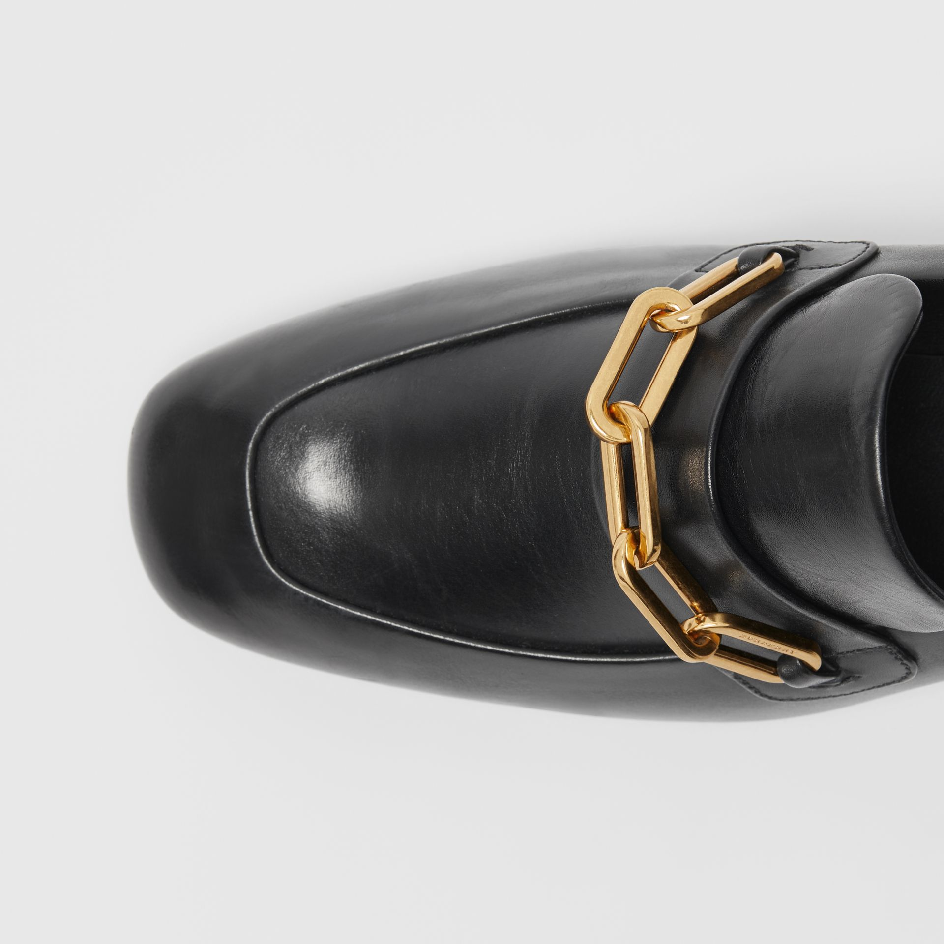 Link Detail Leather Block-heel Loafers in Black - Women | Burberry - gallery image 1