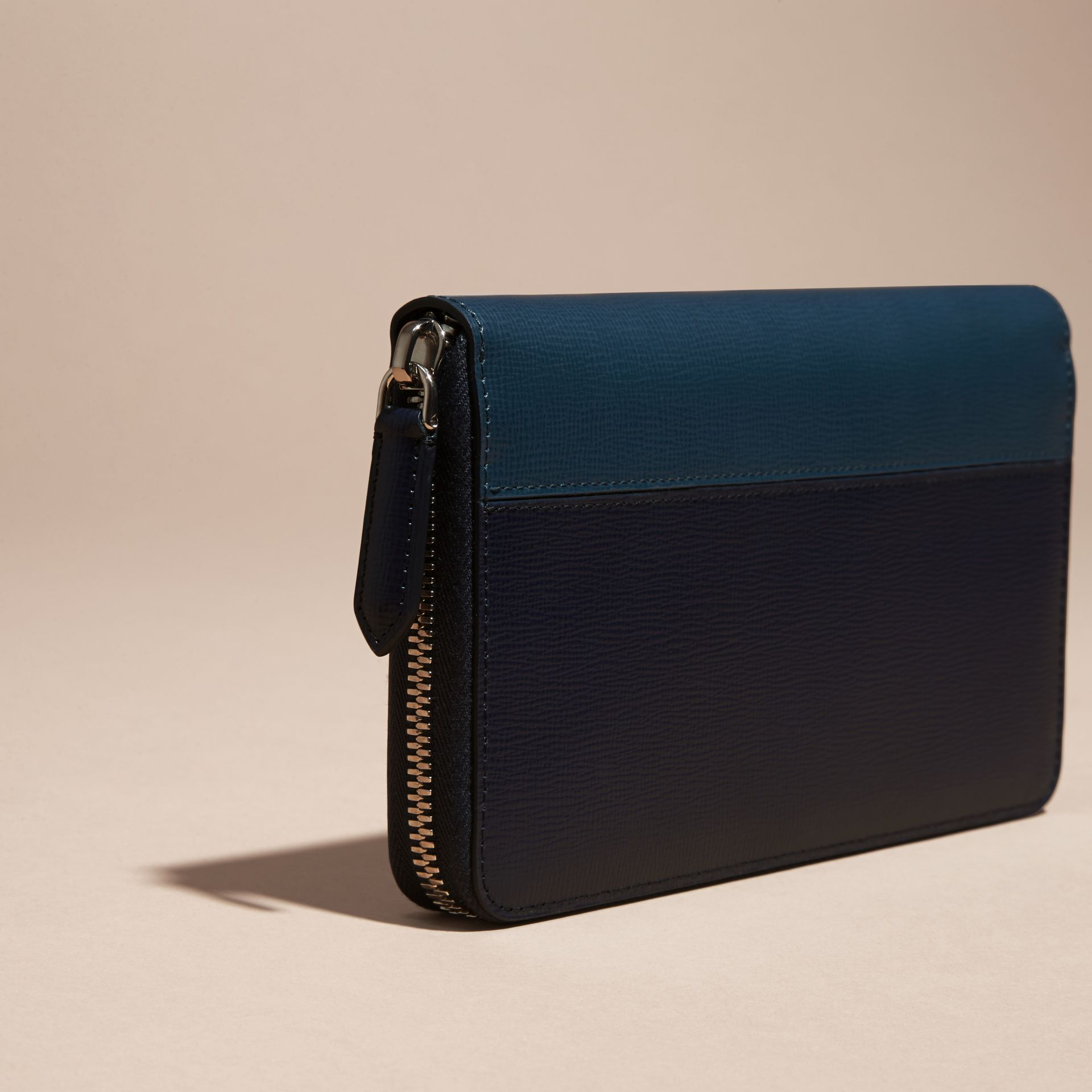 Dark navy/mineral blue Colour Block London Leather Ziparound Wallet Dark Navy/mineral Blue - gallery image 4