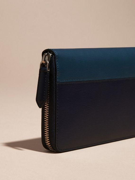 Dark navy/mineral blue Colour Block London Leather Ziparound Wallet Dark Navy/mineral Blue - cell image 3
