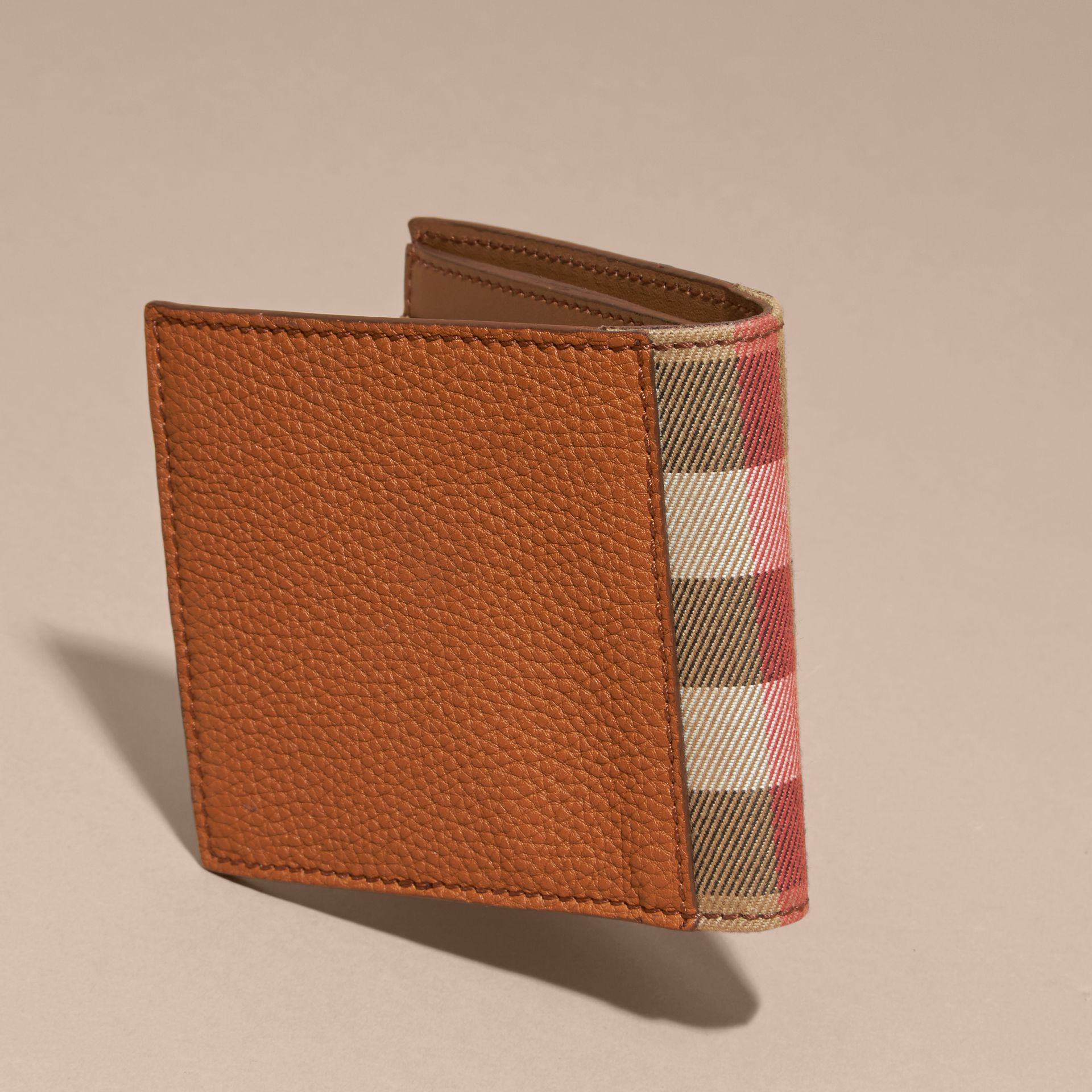 Leather and House Check Folding Wallet Russet - gallery image 5