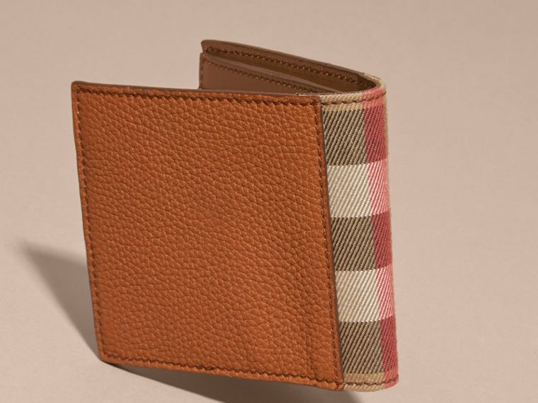 Leather and House Check Folding Wallet Russet - cell image 4