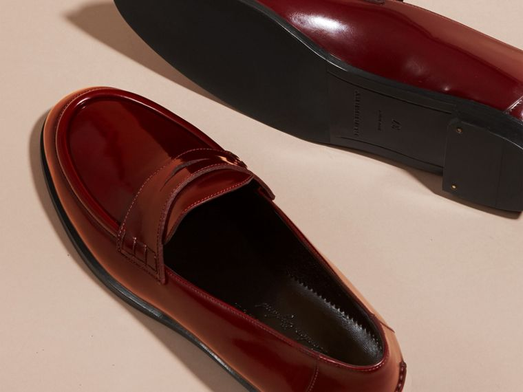 Mahogany red Polished Leather Loafers Mahogany Red - cell image 4