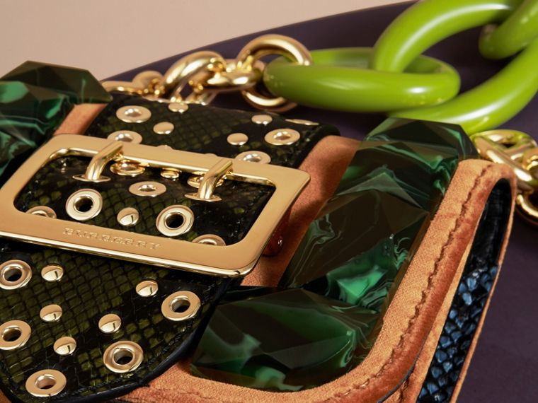 The Mini Square Buckle Bag in Velvet and Snakeskin - cell image 1