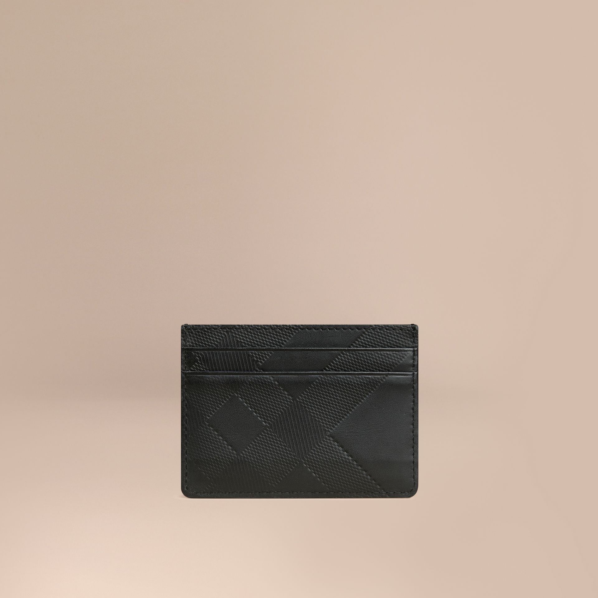 Black Check Embossed Leather Card Case Black - gallery image 1