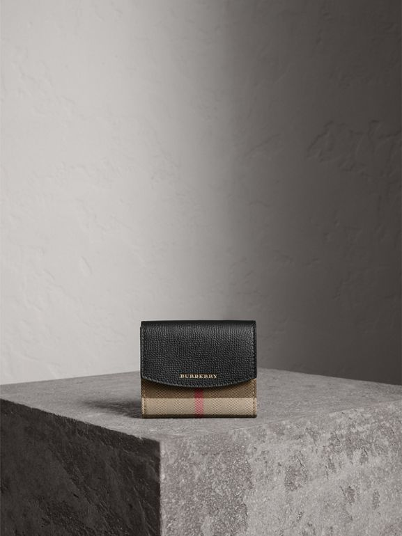 House Check and Leather Wallet in Black - Women | Burberry United Kingdom - cell image 1