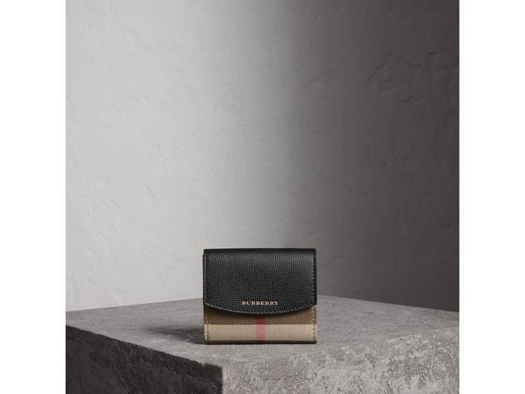 House Check and Leather Wallet in Black - Women | Burberry - cell image 1