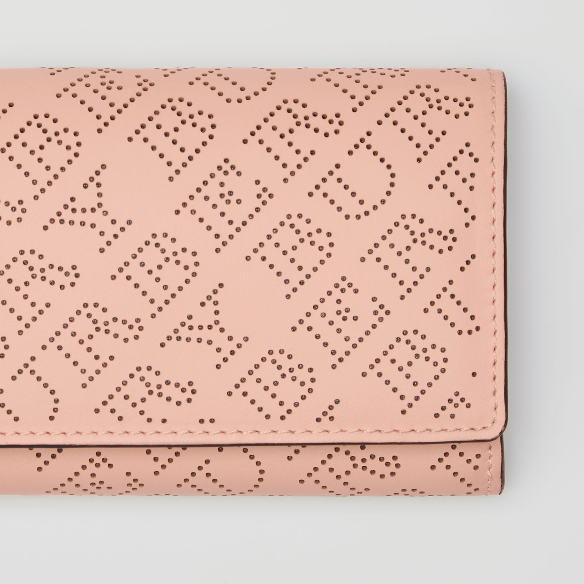 Perforated Logo Leather Continental Wallet in Pale Fawn Pink - Women | Burberry Australia - gallery image 1