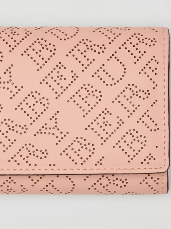 Perforated Logo Leather Continental Wallet in Pale Fawn Pink - Women | Burberry Australia - cell image 1
