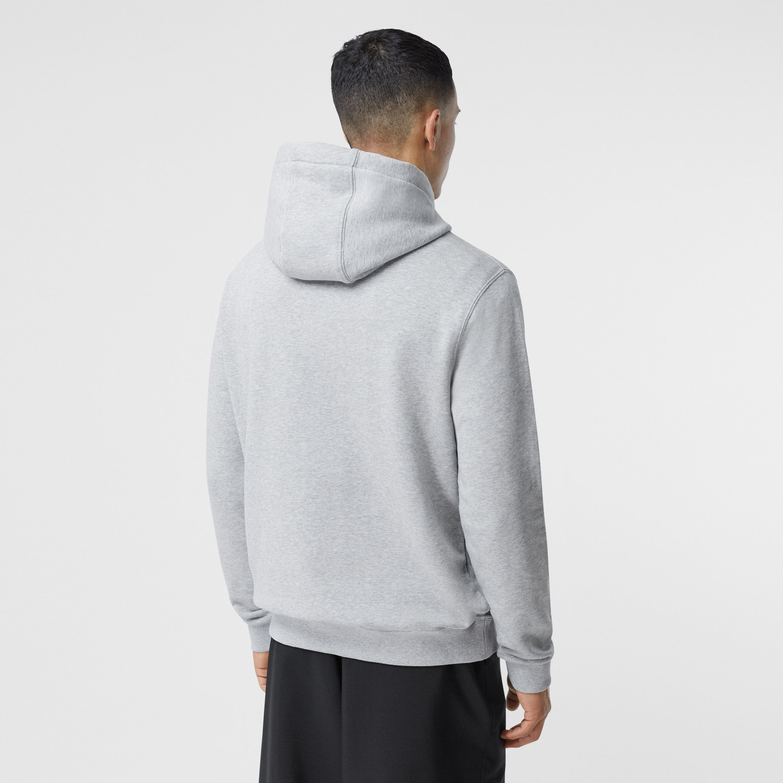 Montage Print Cotton Hoodie in Pale Grey Melange - Men | Burberry Canada - 3