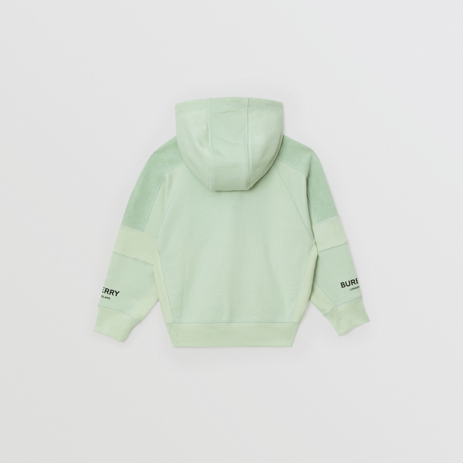 Logo Print Cotton Hooded Top in Pale Mint | Burberry Canada - gallery image 3