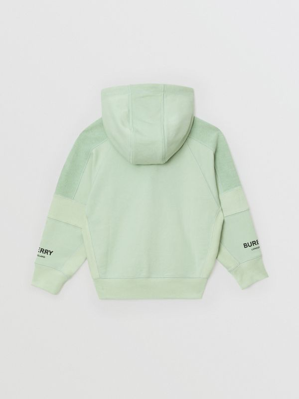 Logo Print Cotton Hooded Top in Pale Mint | Burberry United Kingdom - cell image 3