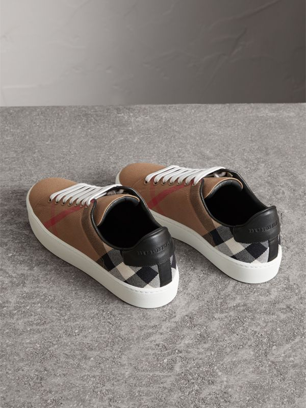House Check and Leather Sneakers in Classic - Women | Burberry - cell image 3