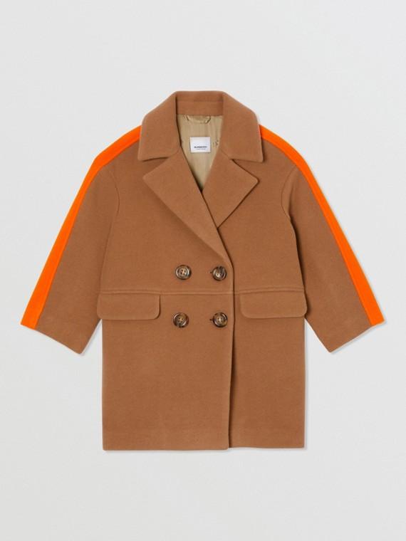 Colour Block Technical Wool Coat in Dark Walnut Melange