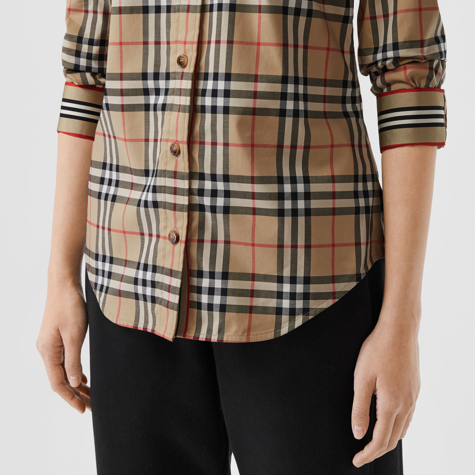 Button-down Collar Vintage Check Stretch Cotton Shirt in Archive Beige - Women | Burberry Singapore - gallery image 1