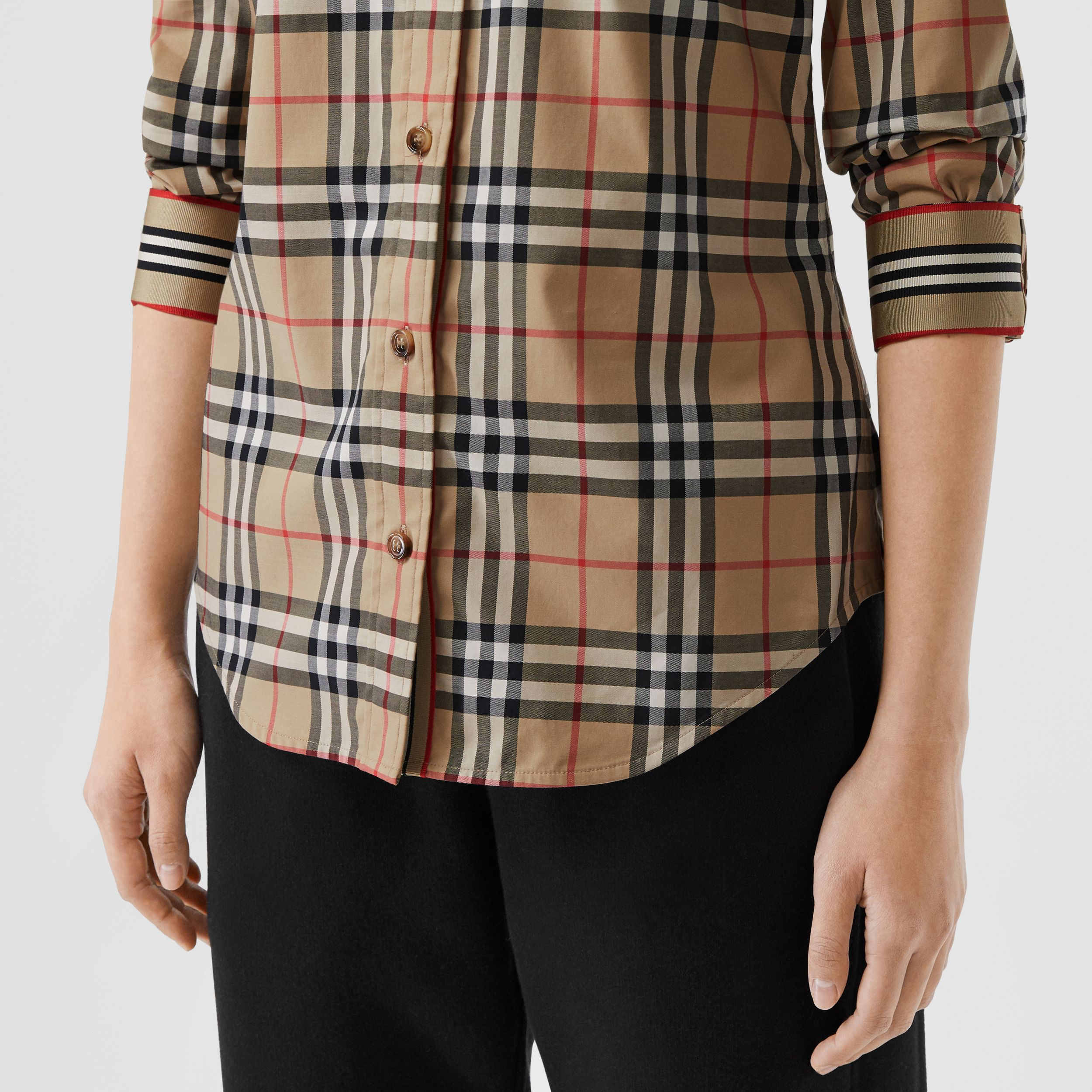 Button-down Collar Vintage Check Stretch Cotton Shirt in Archive Beige - Women | Burberry United Kingdom - 2