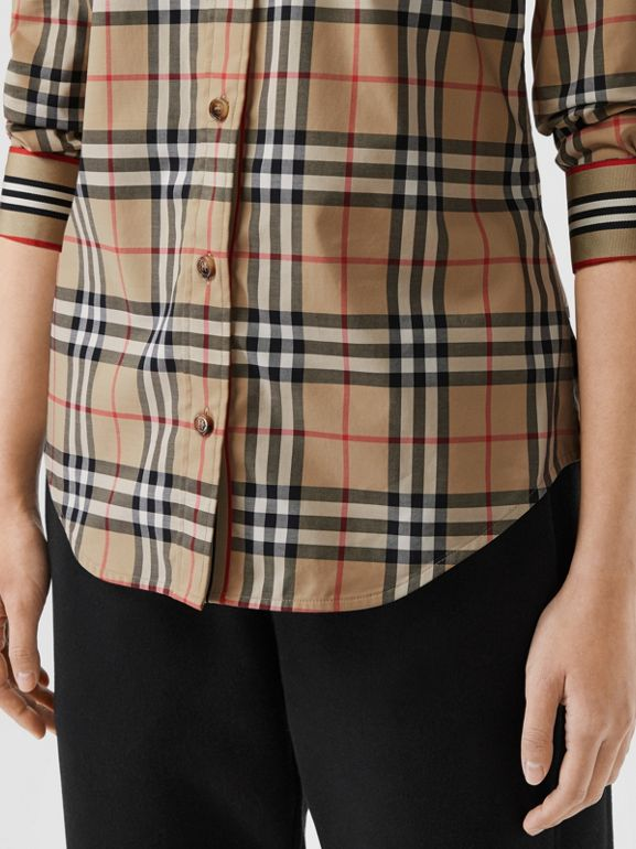 Button-down Collar Vintage Check Stretch Cotton Shirt in Archive Beige - Women | Burberry Singapore - cell image 1