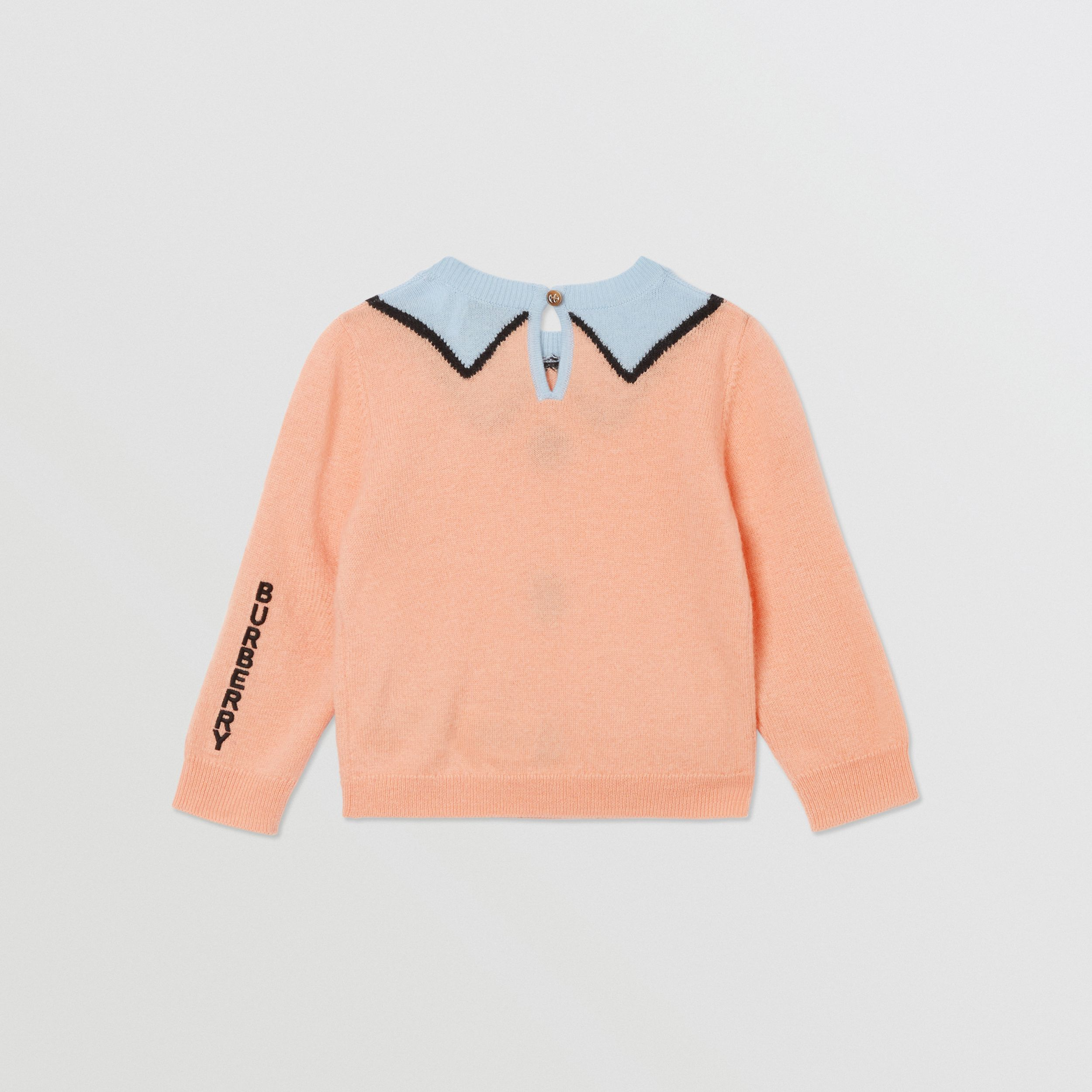 Trompe L'Oeil Intarsia Wool Cashmere Sweater in Peach - Children | Burberry - 4