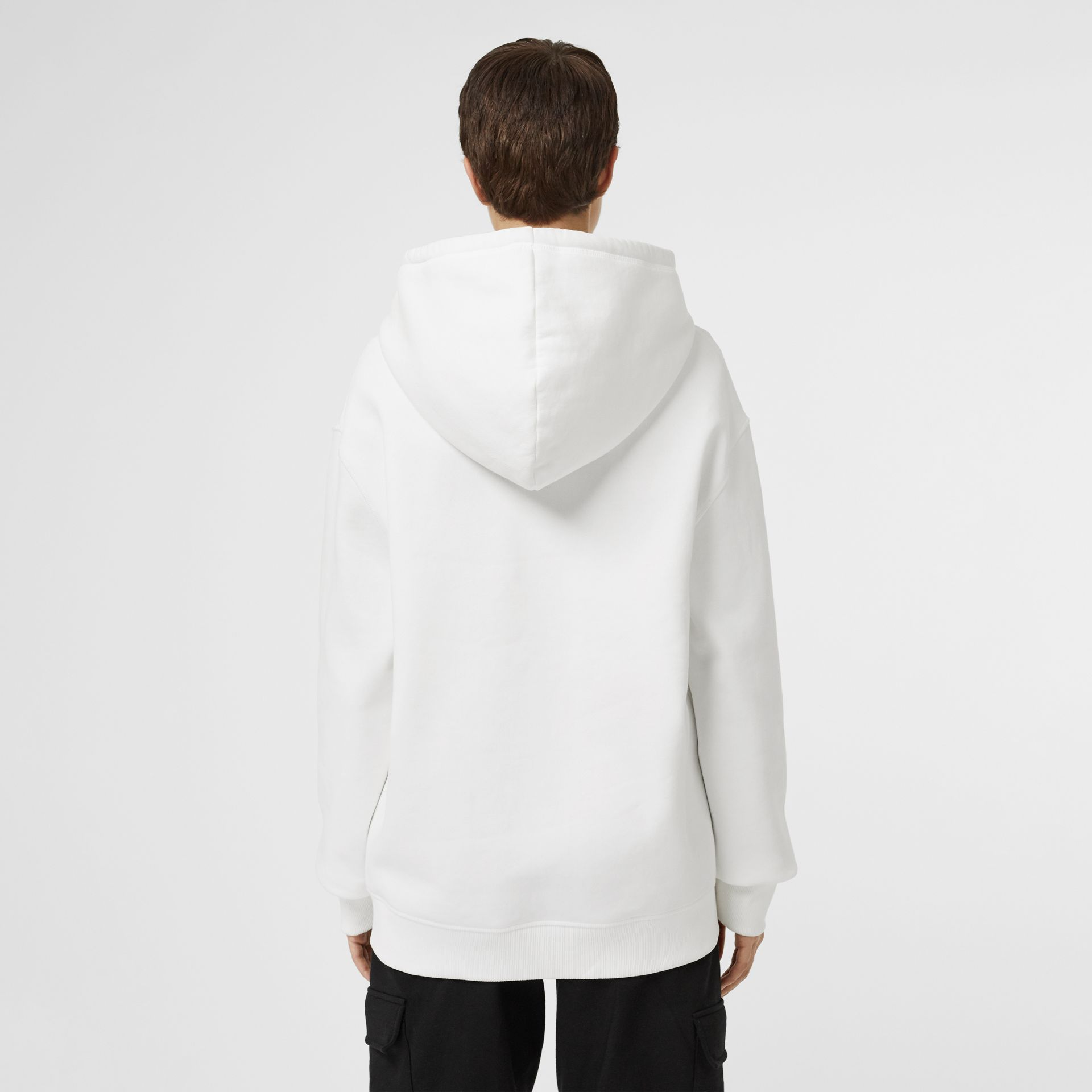 Embroidered Logo Jersey Hoodie in White - Women | Burberry - gallery image 2
