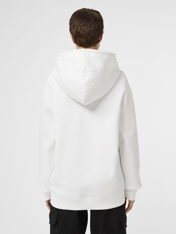 Embroidered Logo Jersey Hoodie in White - Women | Burberry - cell image 2