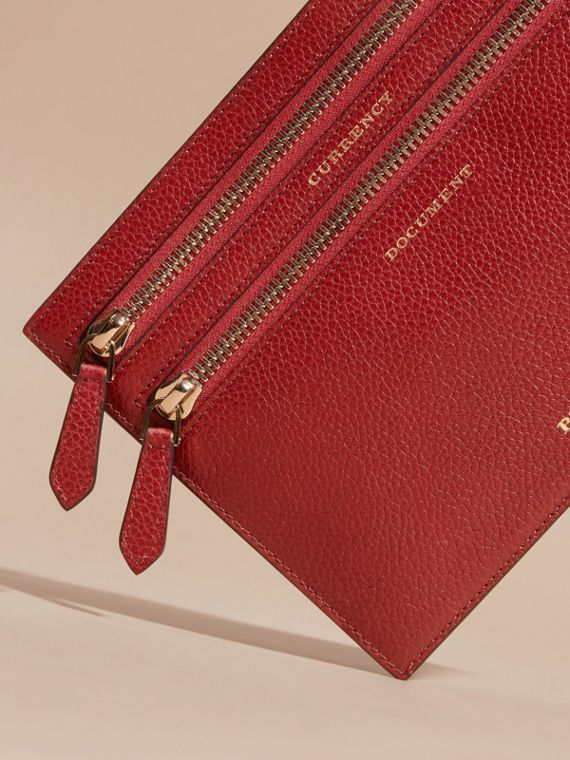 Grainy Leather Currency Wallet in Parade Red | Burberry United Kingdom - cell image 2