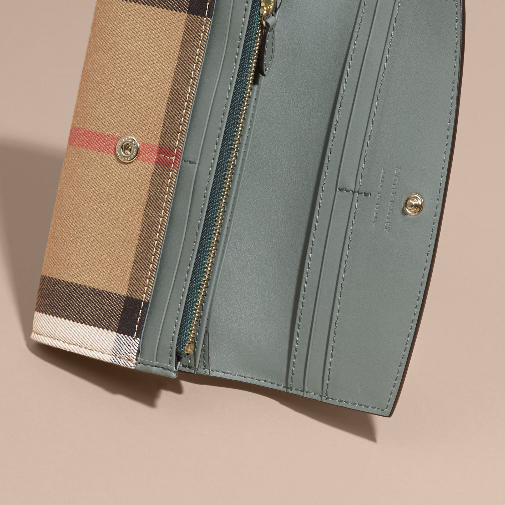 House Check and Leather Continental Wallet in Smokey Green - gallery image 5