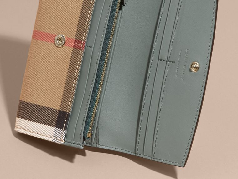 House Check and Leather Continental Wallet in Smokey Green - Women | Burberry - cell image 4