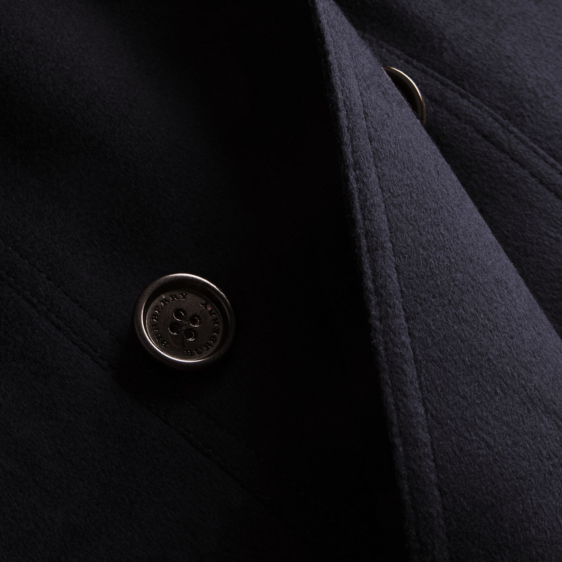 Navy Cashmere Trench Coat with Puff Sleeves Navy - gallery image 2