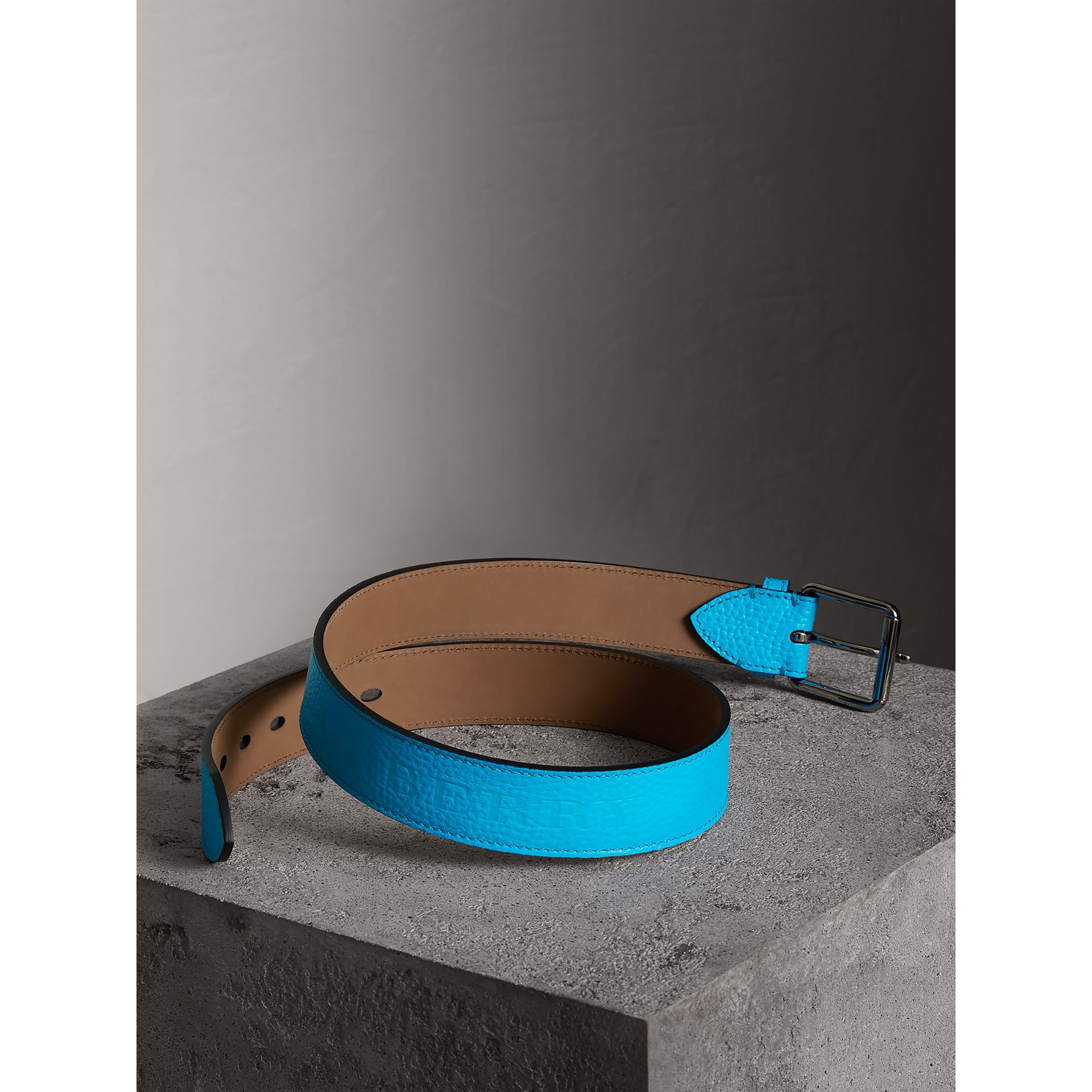 Embossed Grainy Leather Belt in Neon Blue | Burberry - gallery image 2