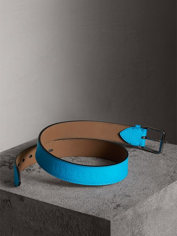 Embossed Grainy Leather Belt in Neon Blue | Burberry - cell image 3