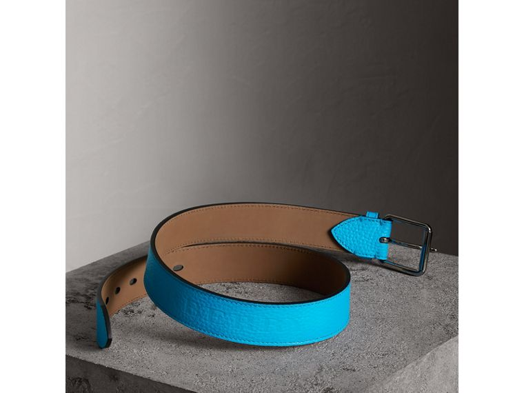 Embossed Grainy Leather Belt in Neon Blue | Burberry - cell image 2