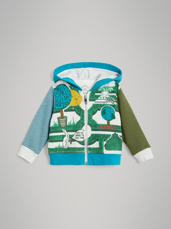 Hedge Maze Print Cotton Hooded Top in Multicolour