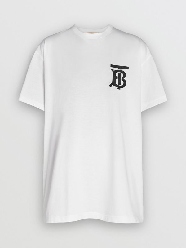 Monogram Motif Cotton Oversized T-shirt in White - Women | Burberry United Kingdom - cell image 3